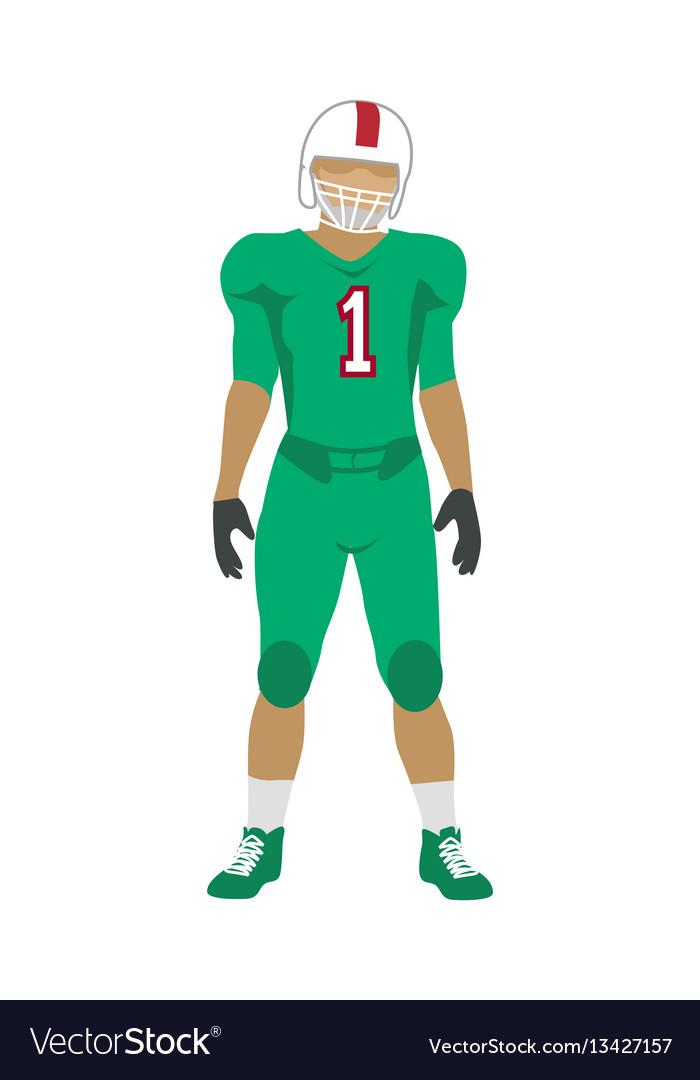 American football player in uniform and helmet