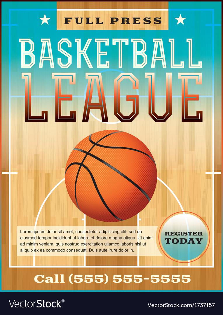 Basketball League Flyer or Poster vector image