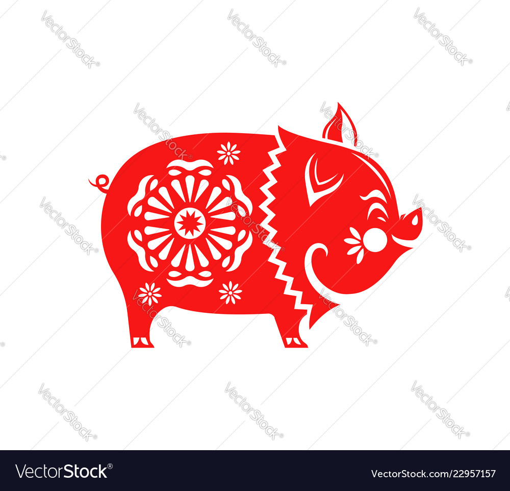 Chinese new year 2019 red paper cut pig isolated