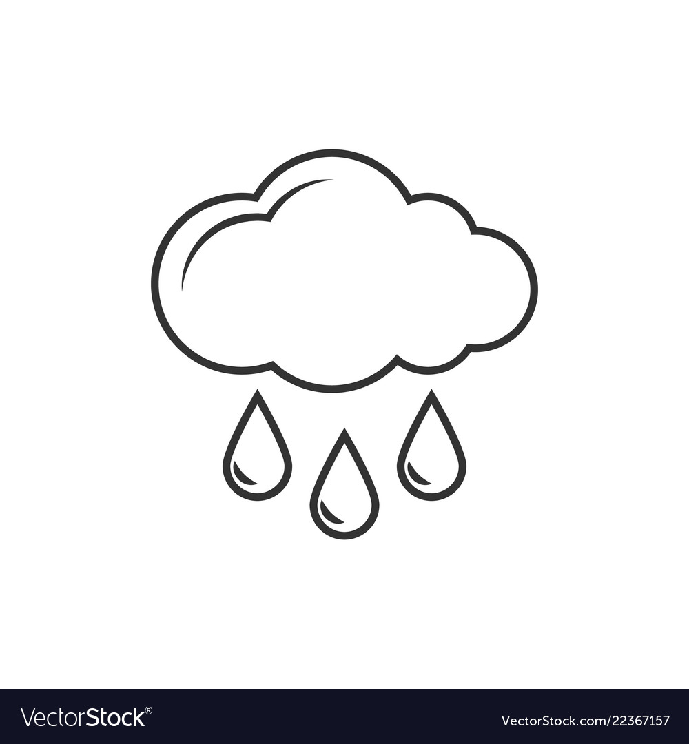 Cloud with rain outline icon