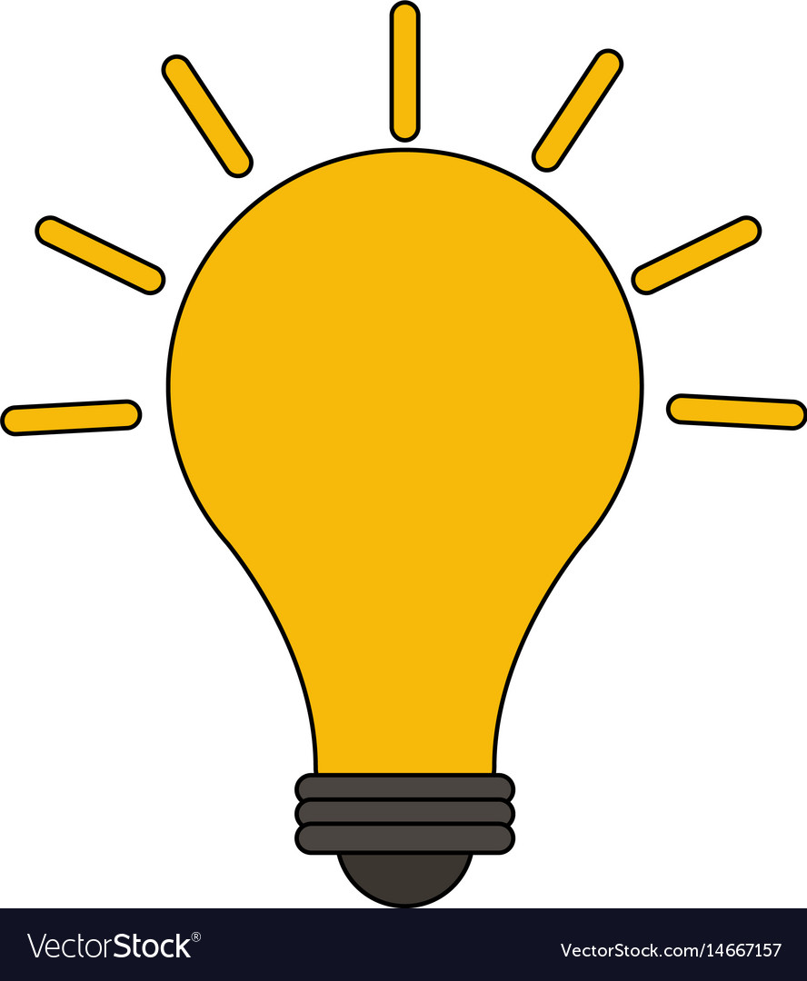 Color image cartoon modern light bulb on with vector image