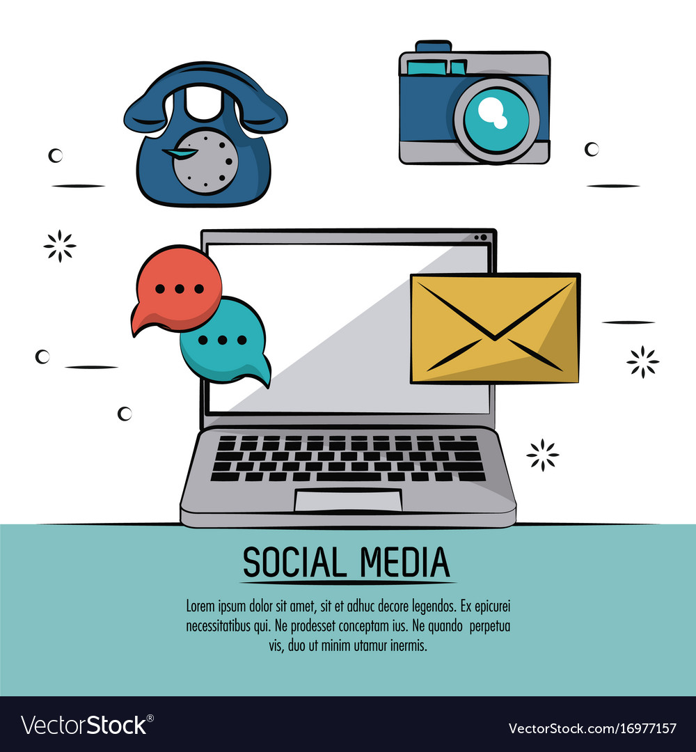 Colorful poster of social media with icons mail