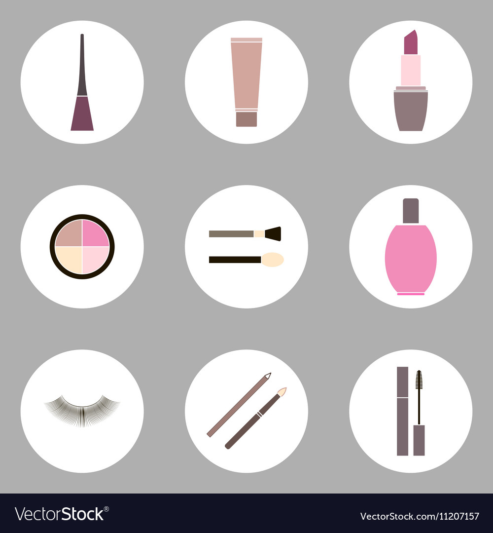 Cosmetic flat icon set