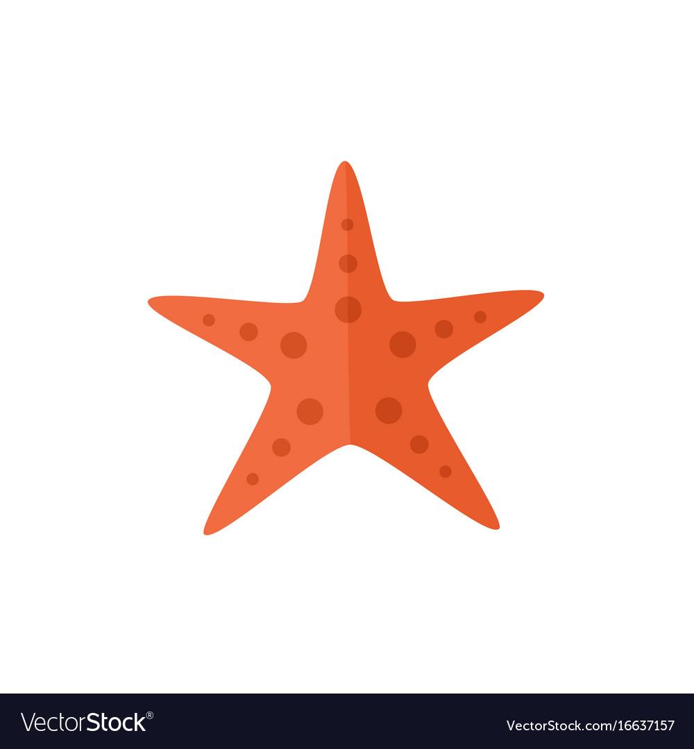 Flat cartoon red textured starfish star fish