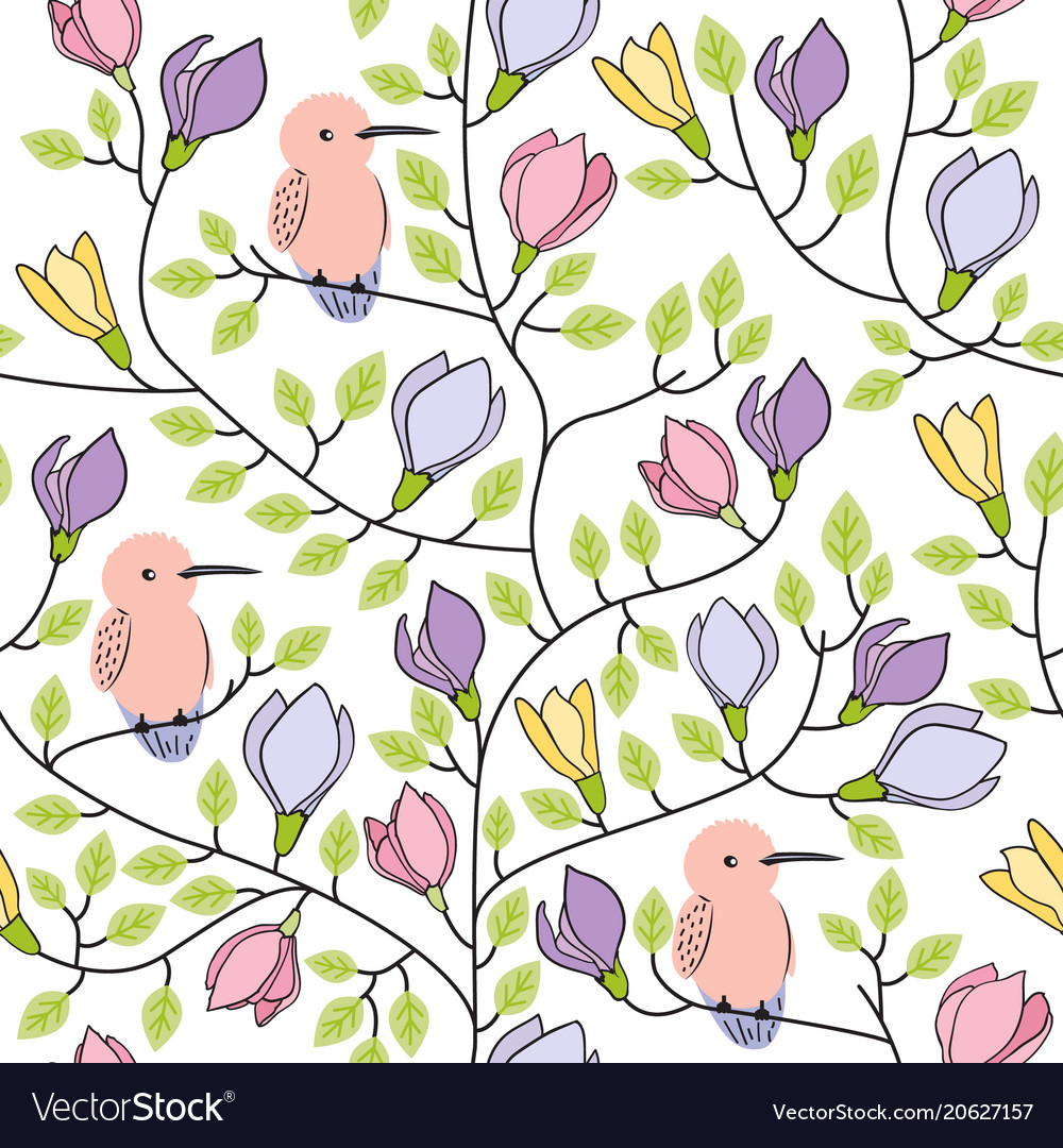Floral seamless hand drawn pattern with birds and