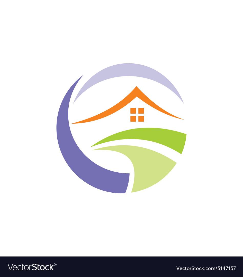 House environment villa realty logo vector image