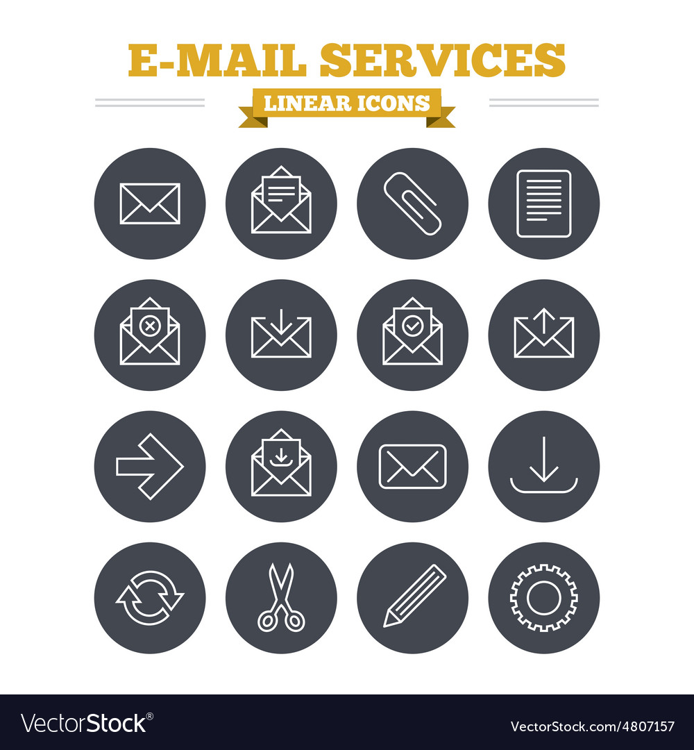 Mail services linear icons set Thin outline signs
