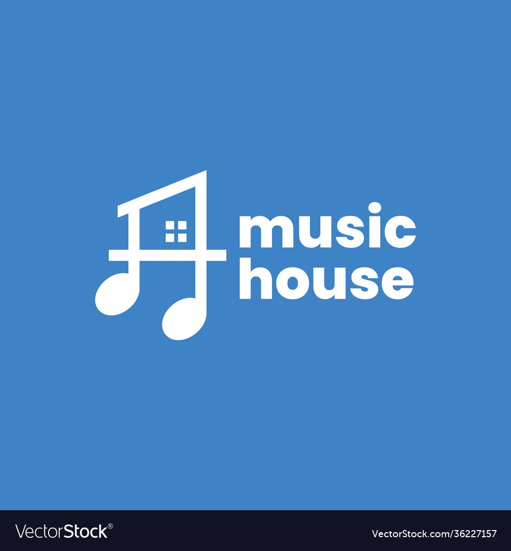 Music note house home logo icon
