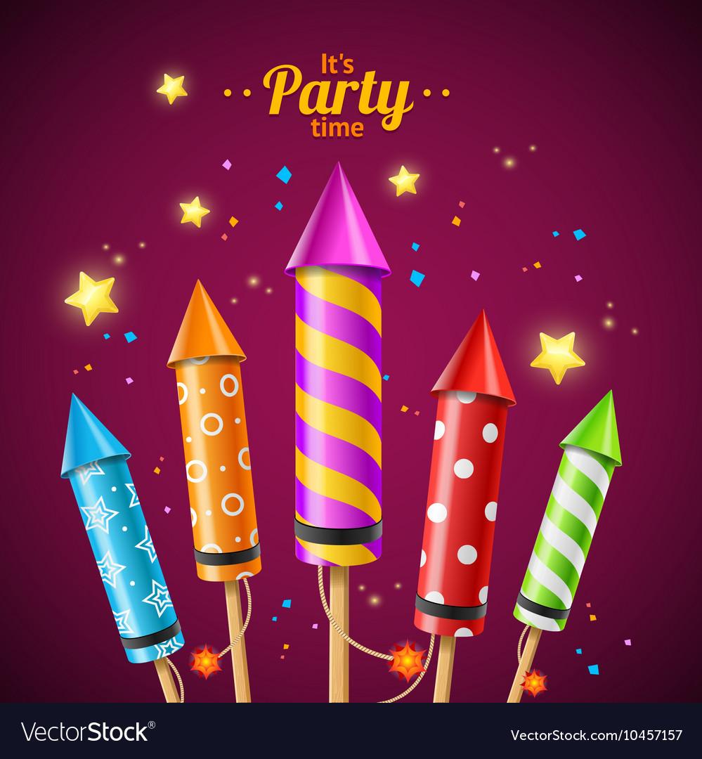 Party Rocket Fireworks Flyer Card