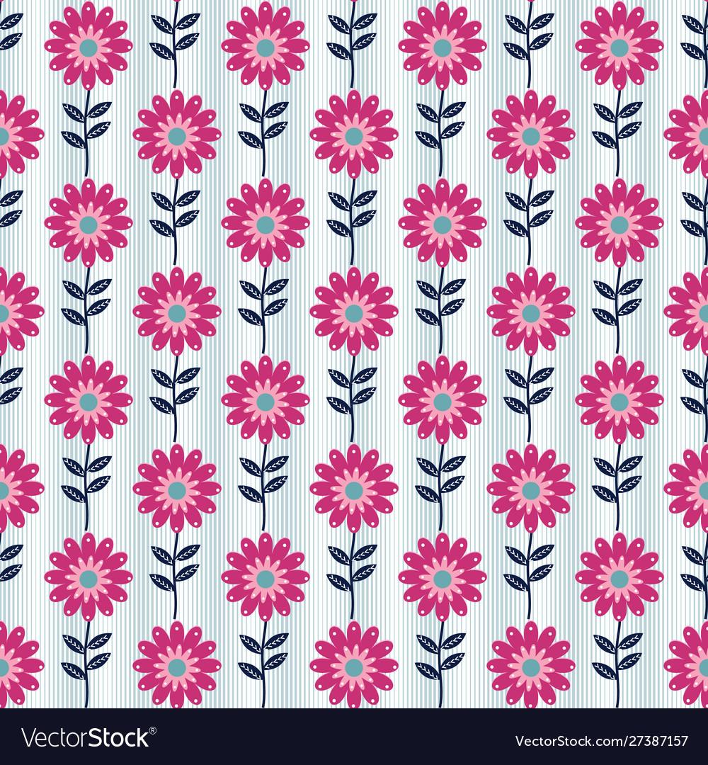 Seamless flower pattern in folk art style