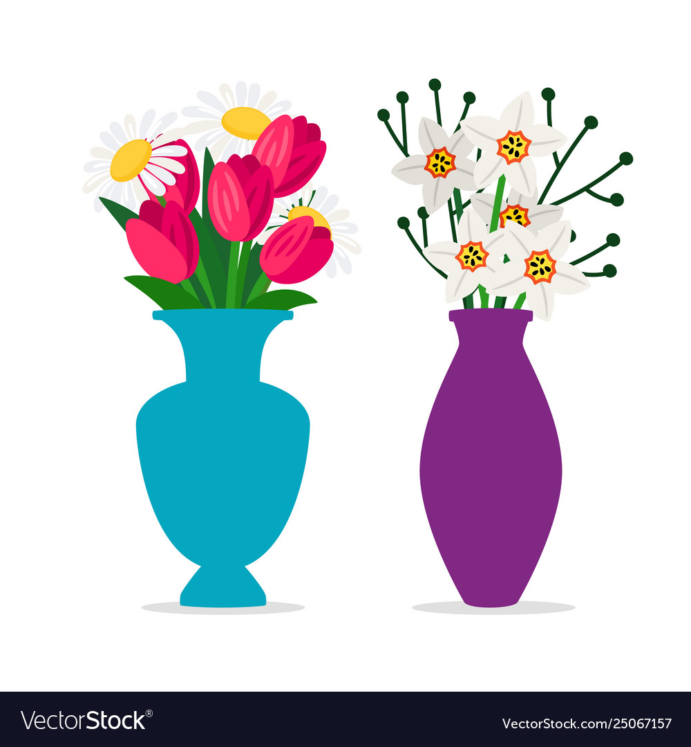 Spring flowers bouquets in vases isolated