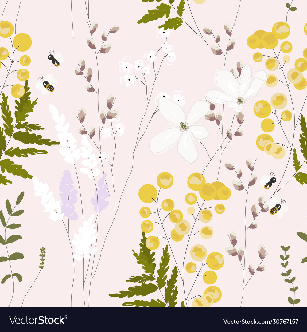 Spring garden seamless pattern with hand drawn