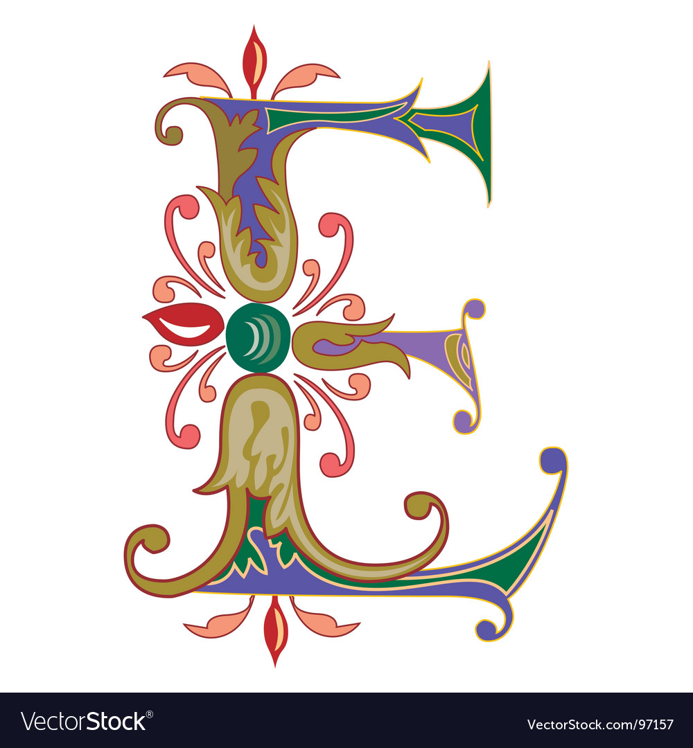 Typography letter e vector image