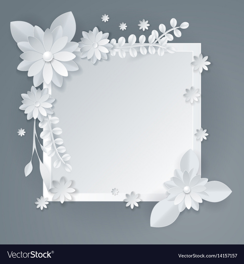 White Paper Flowers Floral Background Royalty Free Vector