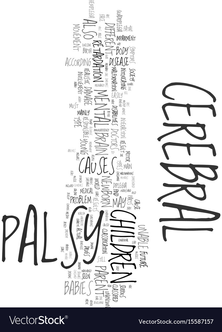 Your helpful guide to cerebral palsy text word vector image