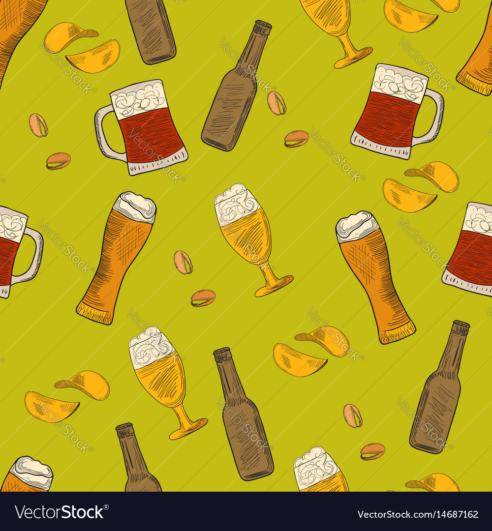 Beer hand-drawn doodle seamless pattern vector image