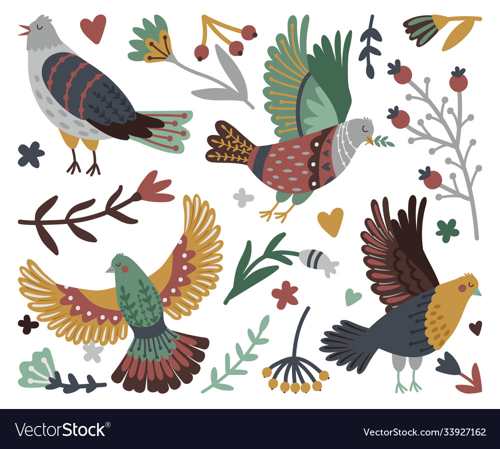 Birds and forest design elements