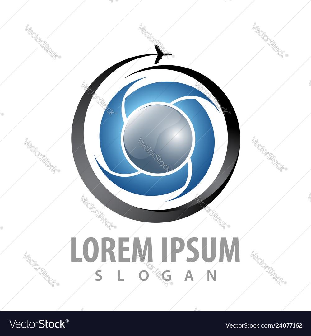 Circle swirl airplane logo concept design symbol