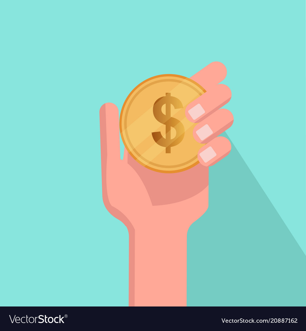 Flat hand holding coin with blue background