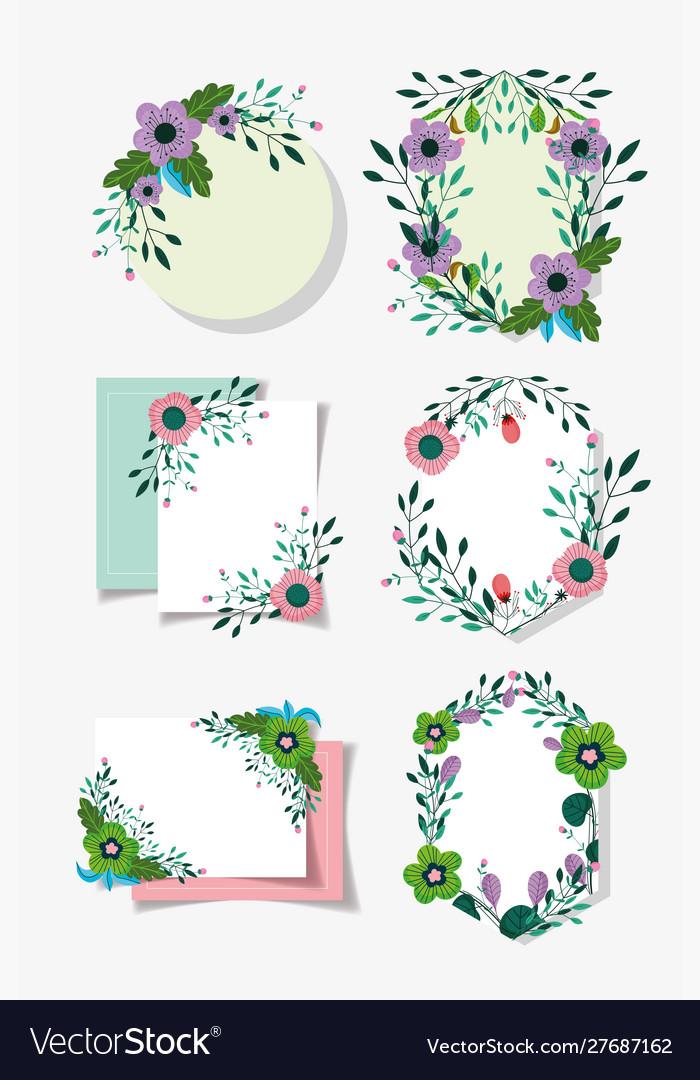 Flowers foliage floral wreath labels decoration
