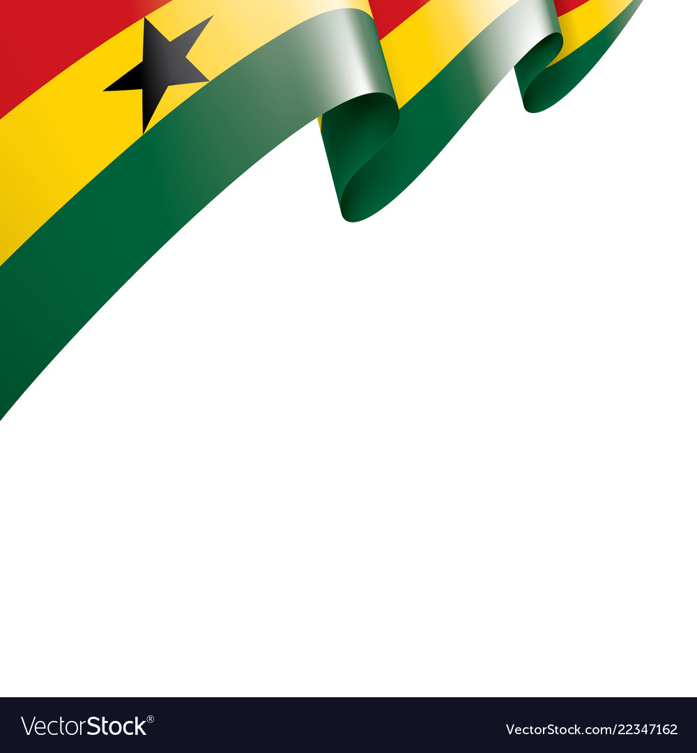Ghana Flag On A White Royalty Free Vector Image