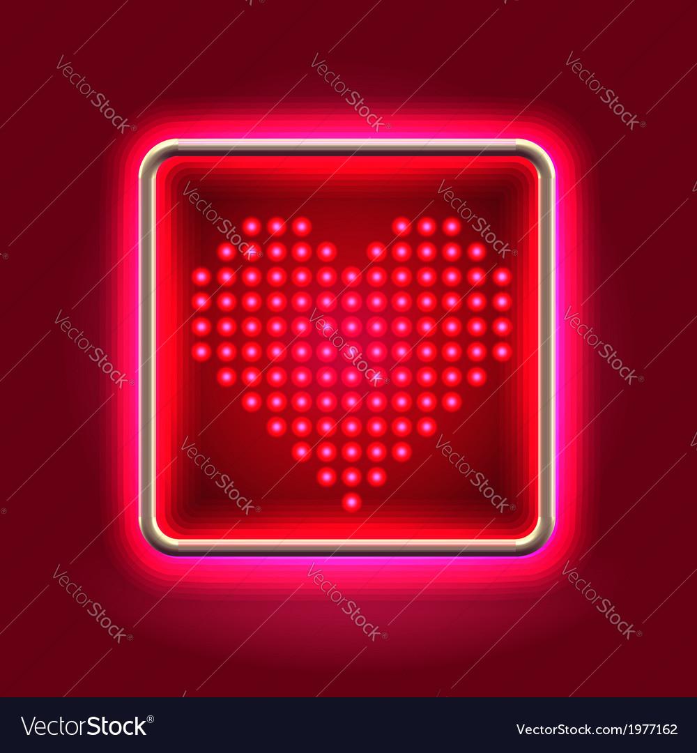 Heart glowing neon headboard vector image