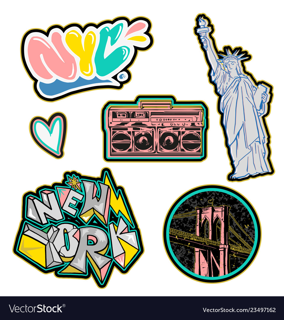 New york city set sticker and patches print