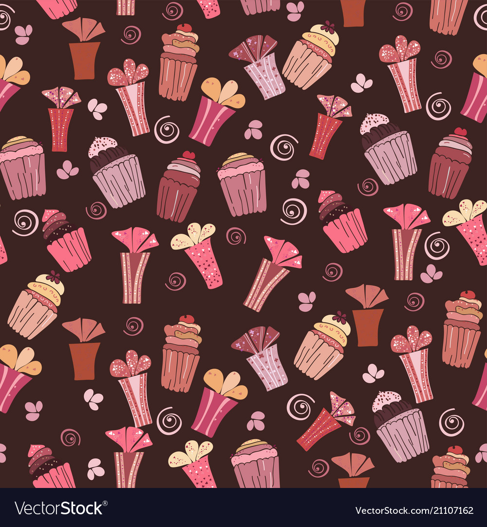 Seamless pattern with cupcakes and gift
