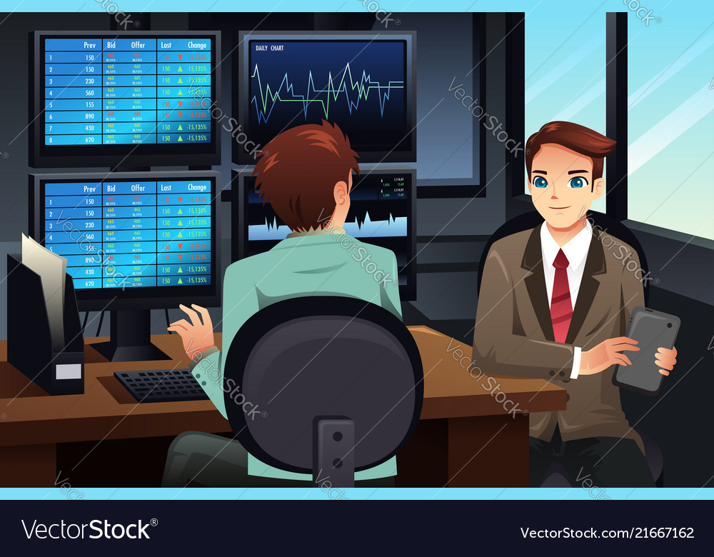 Stock trader looking at the stock market monitors