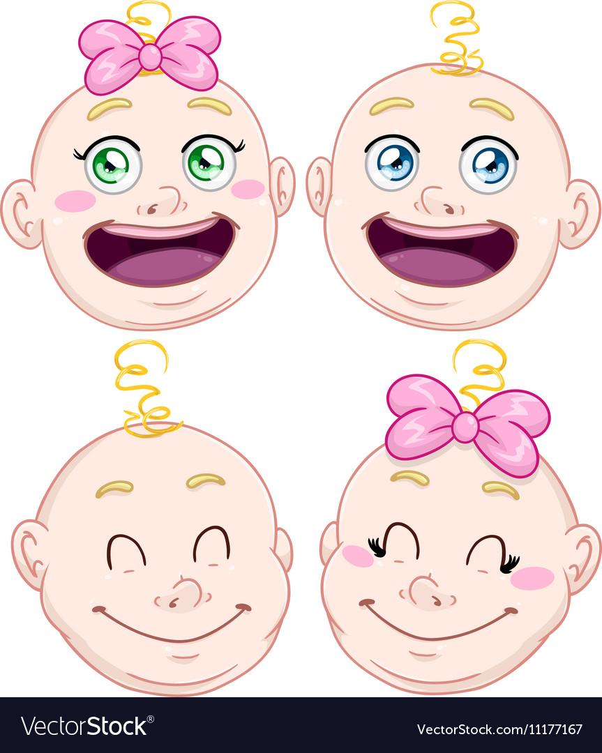 Cute Baby Boy And Girl Head Set vector image