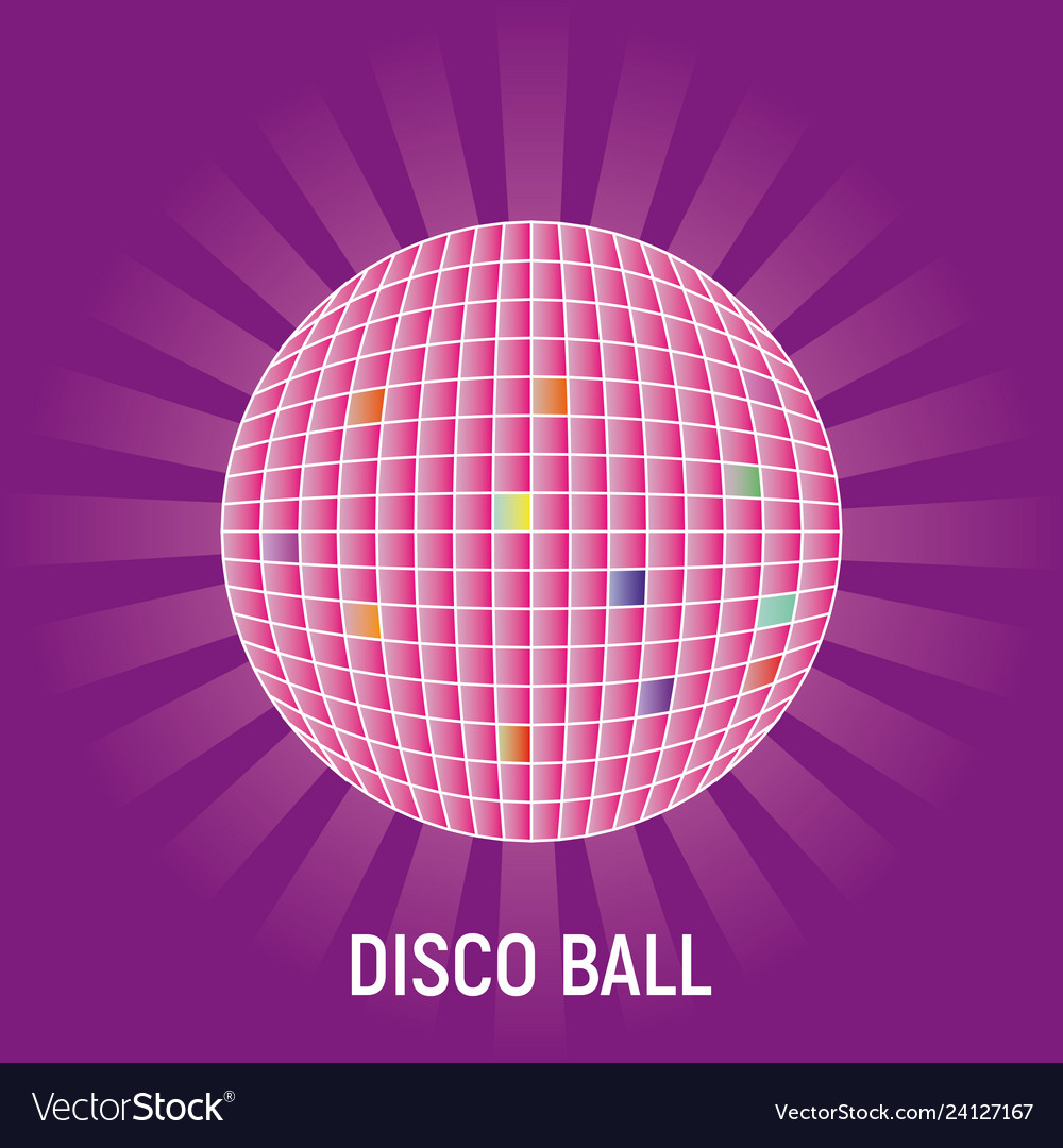 Disco ball with rays on purple background