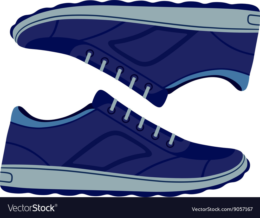 Pair unisex blue suede sneakers shoes vector image