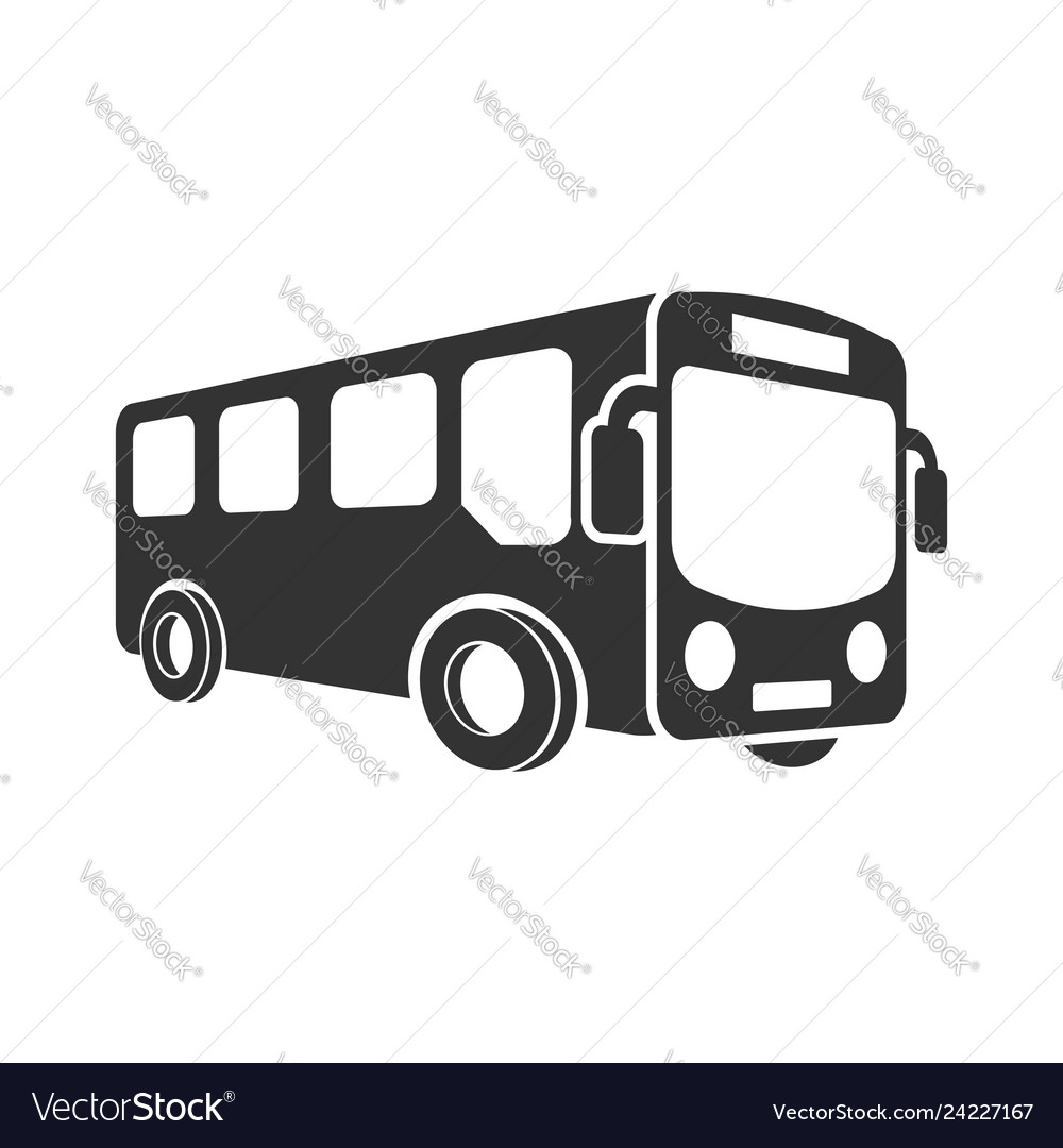 School bus icon in flat style autobus on white