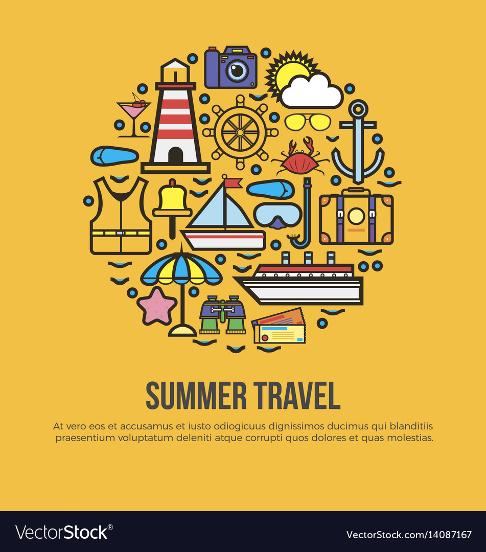 Summer travel conceptual banner collection of vector image