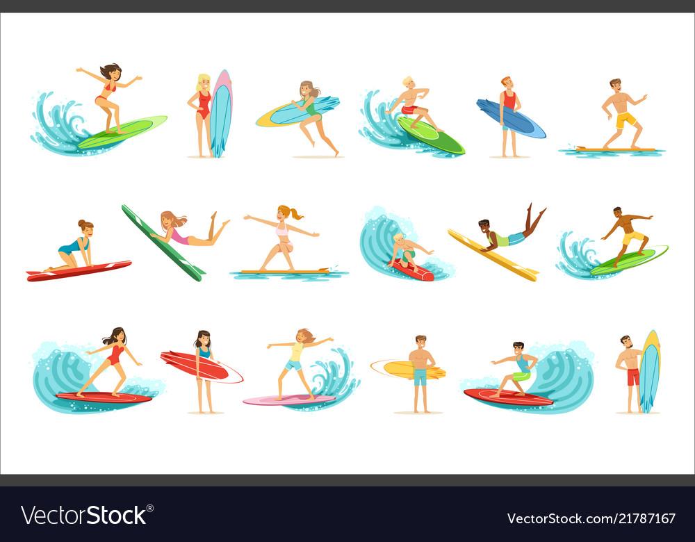 Surfboarders riding on waves set surfer men