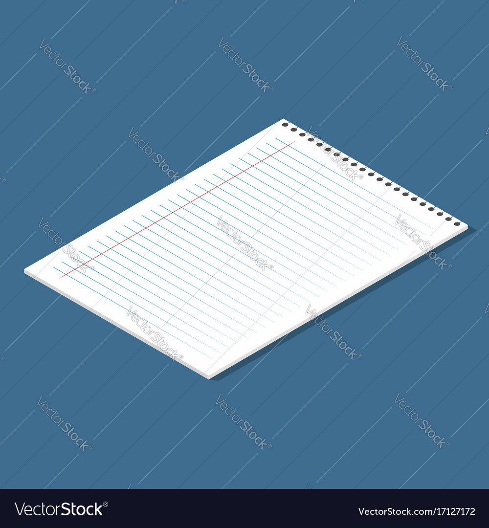 Blank lined paper sheet isometric sheet from vector image