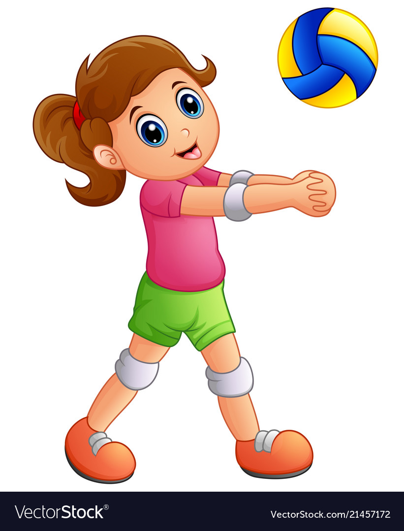 Cartoon girl playing volleyball on a white backgro