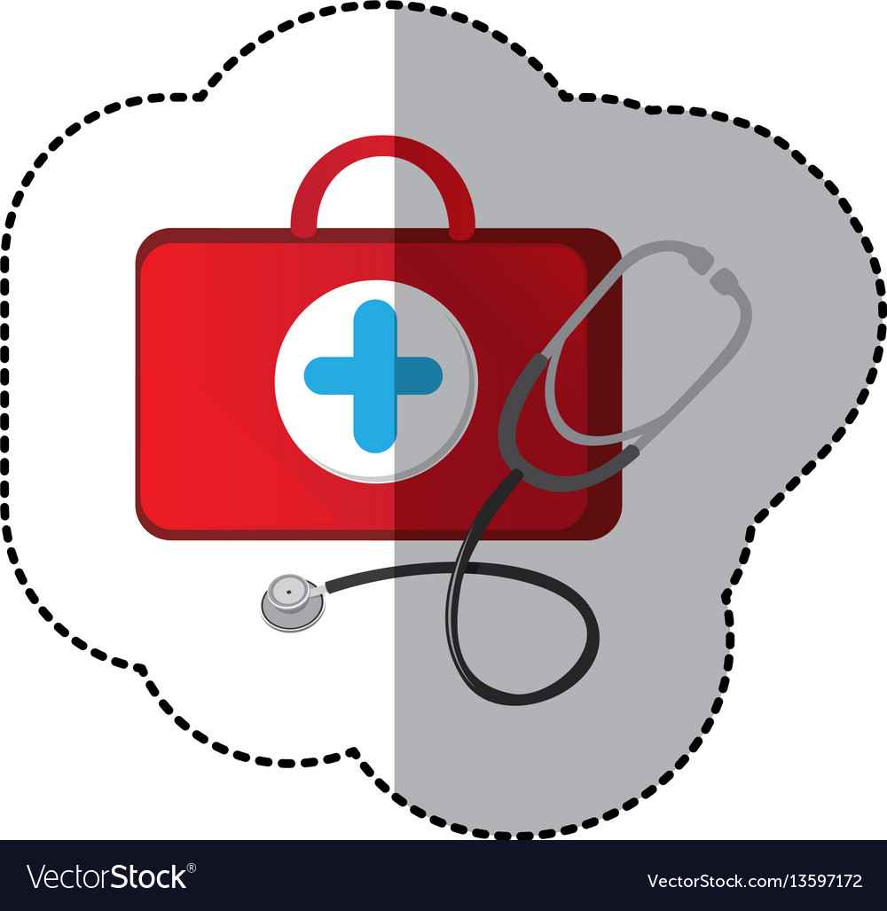 Color suitcase health with stethoscope icon