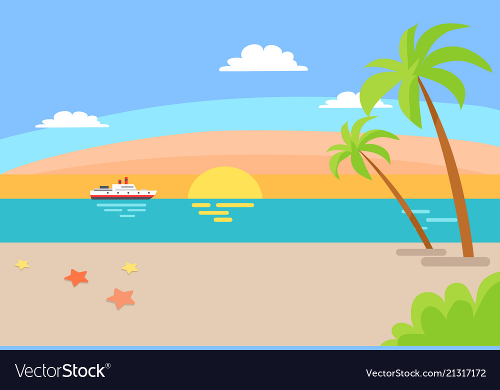Cruise ship sailing ocean summer beach landscape