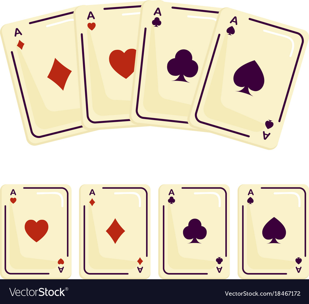 Four aces playing cards spades attributes