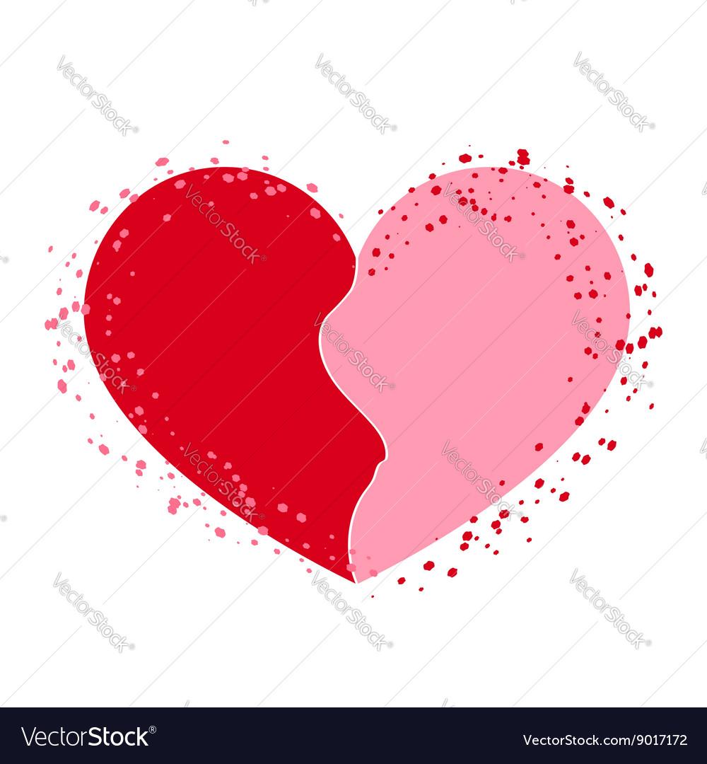 Halves heart icon pink on white