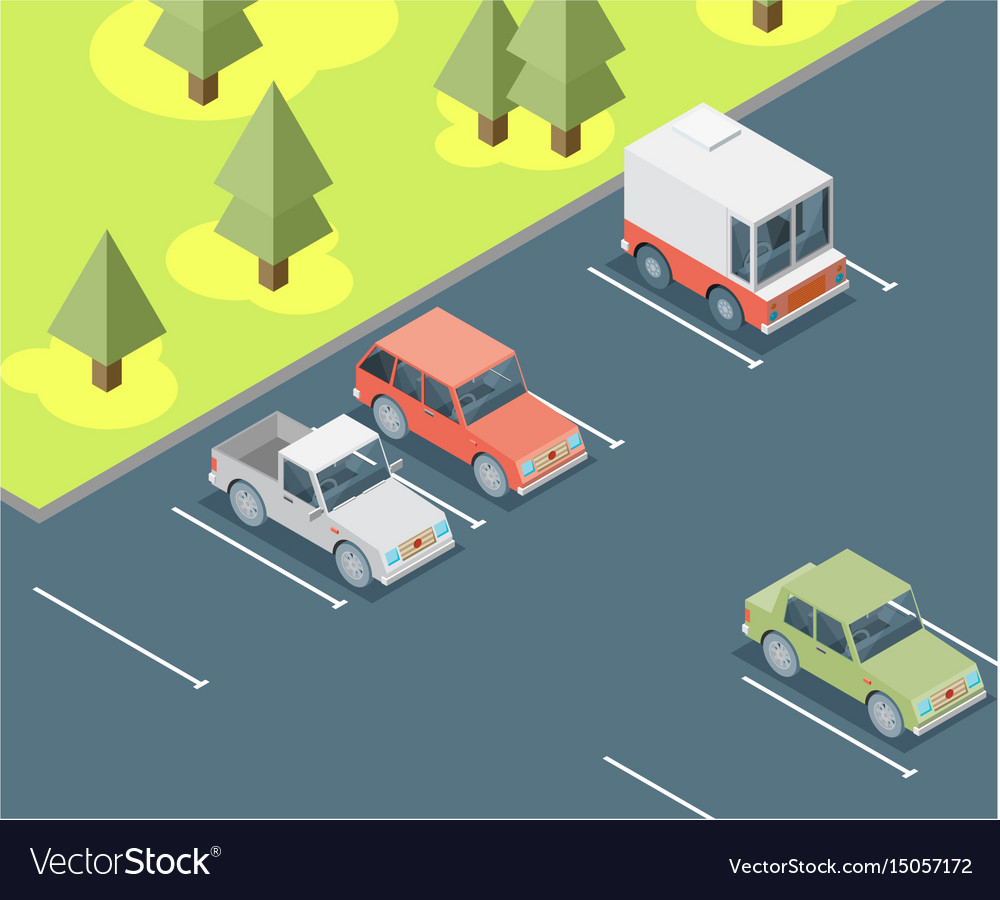 Isometric car parked flat