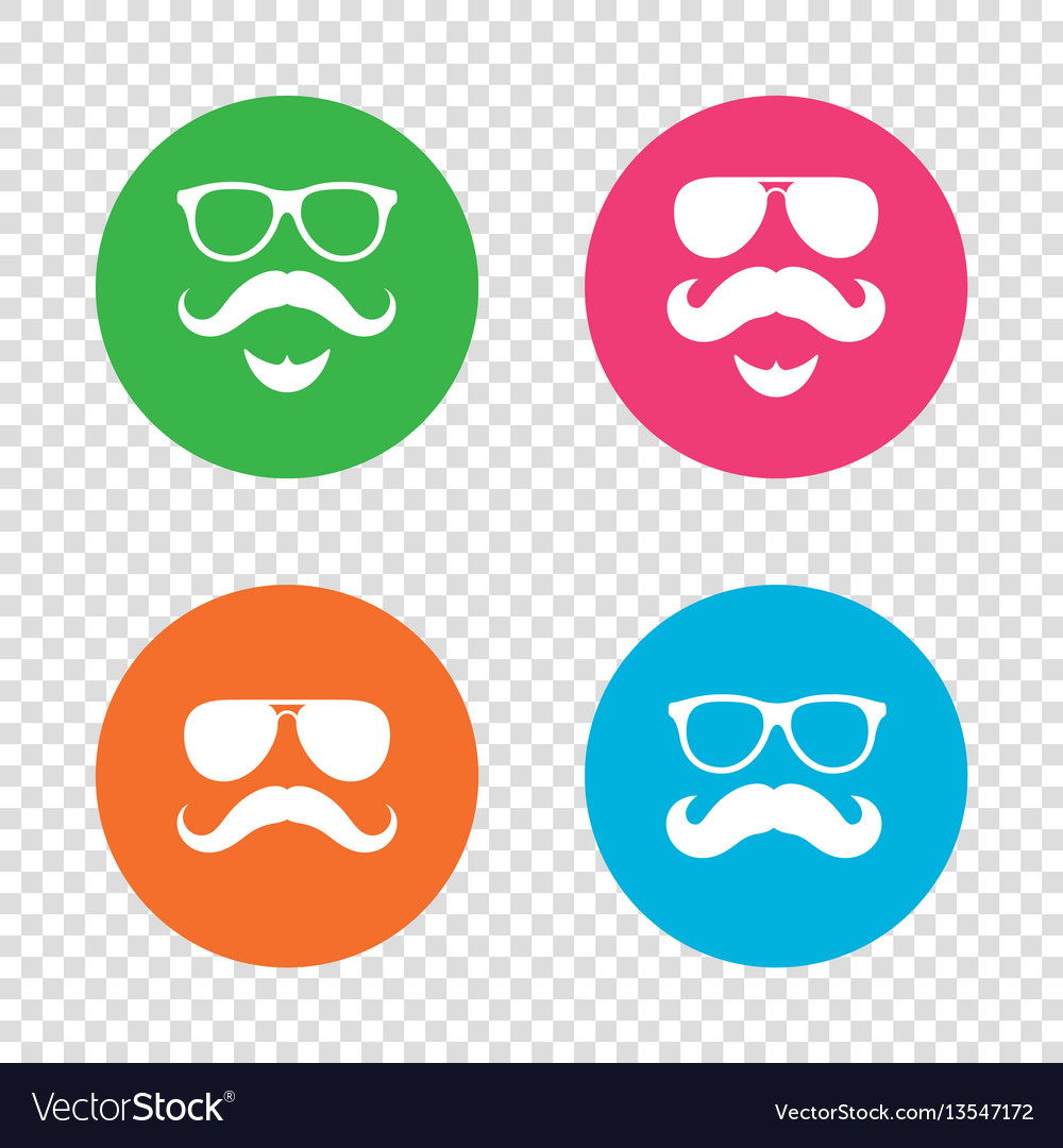 Mustache and glasses icons hipster symbols