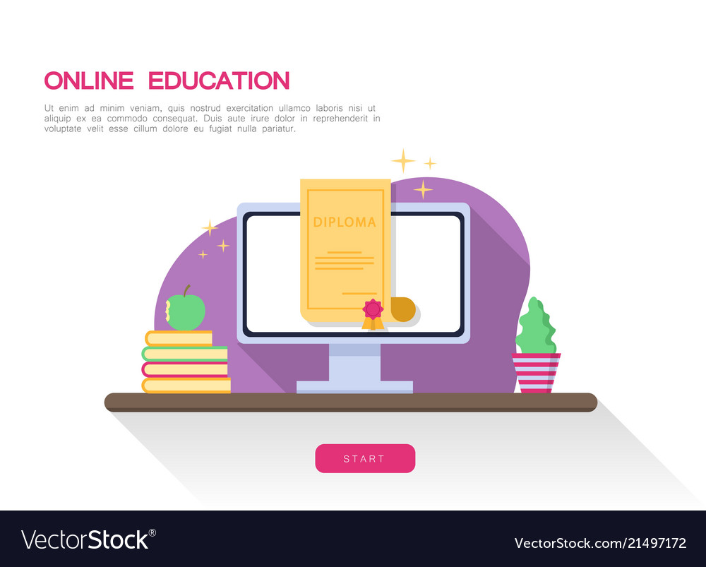 Online education concept web page diploma