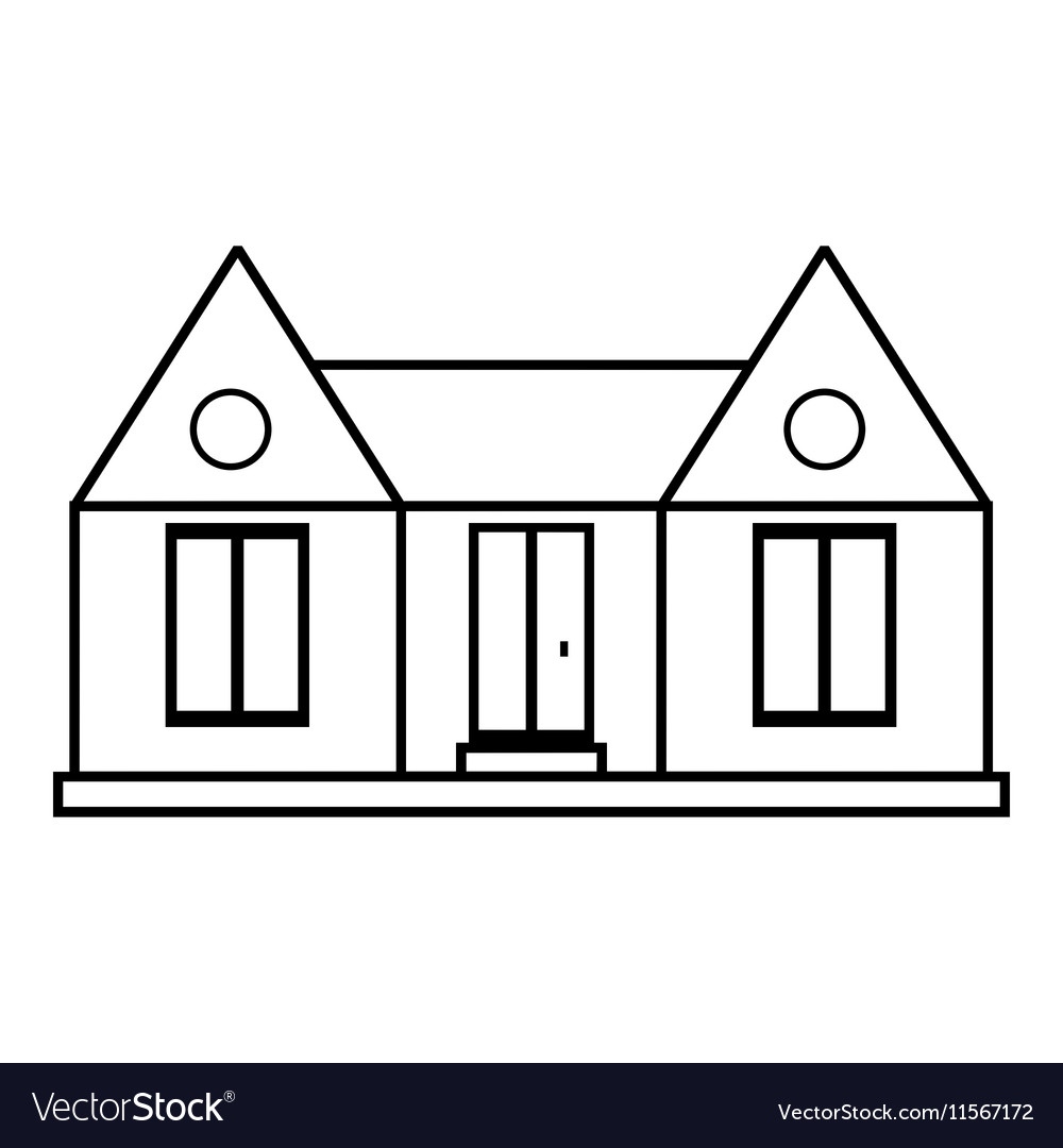 Private house icon outline style vector image