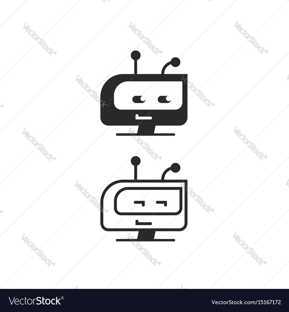 Robot head icon chatbot idea or bot logo