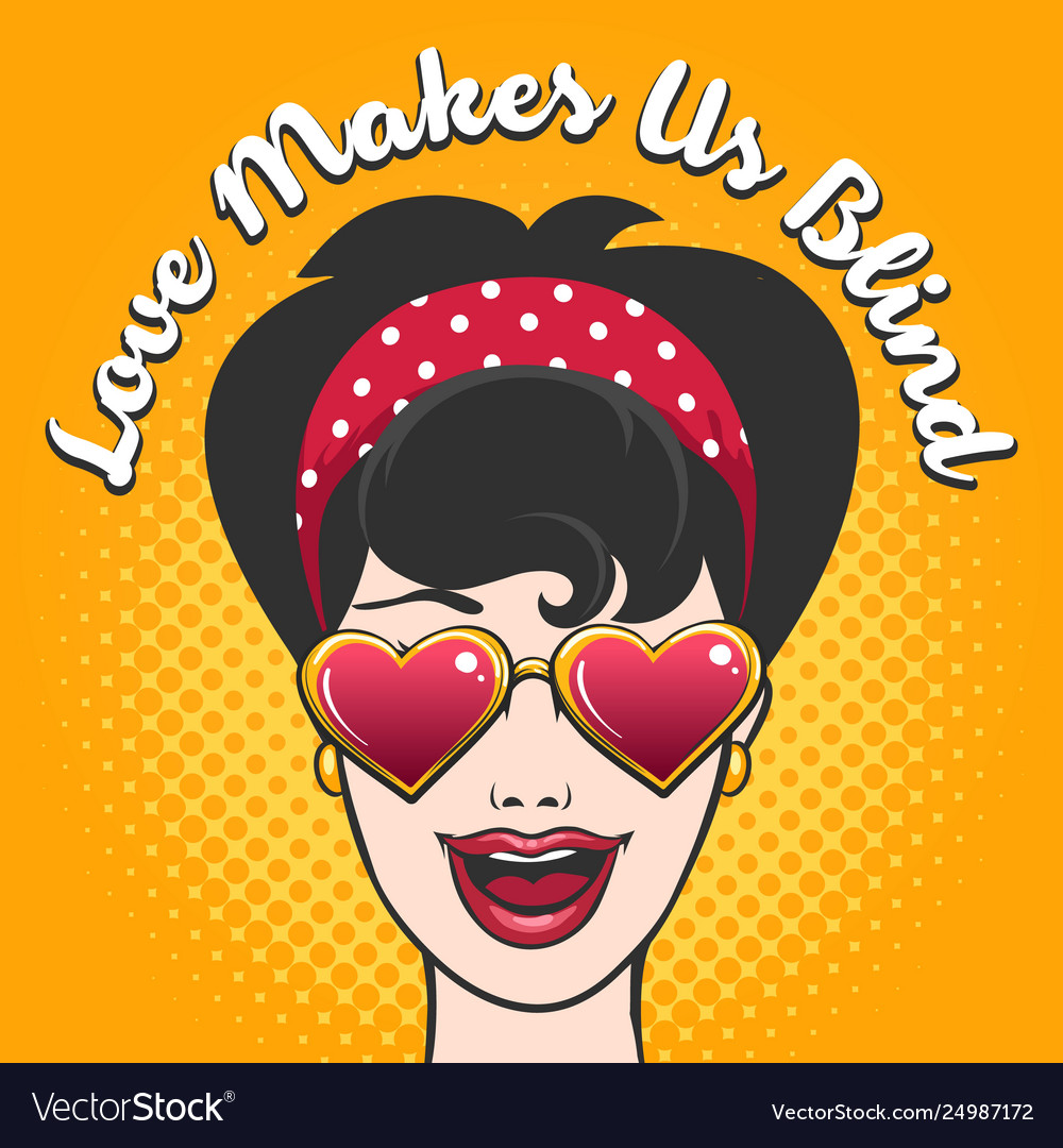 Woman in heart shaped glasses and wording love