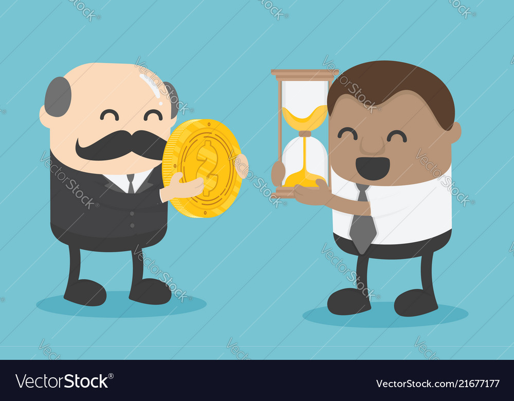 African businessman trading ideas time the most