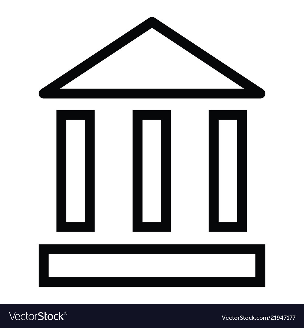 Bank building icon with outline style