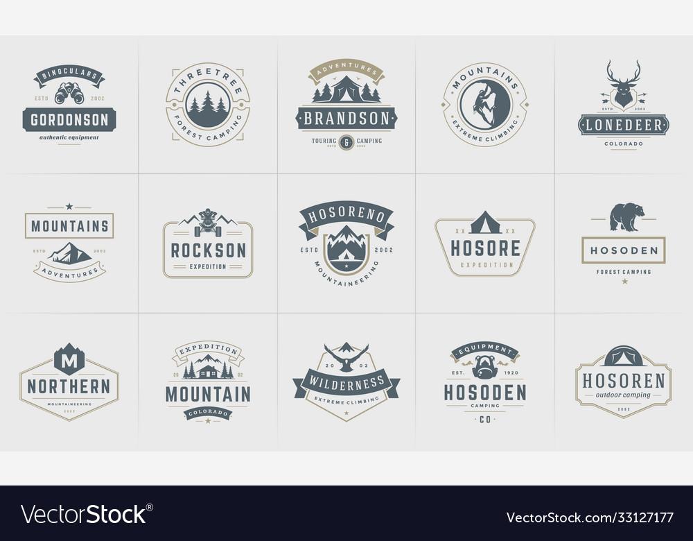 Camping logos and badges templates design